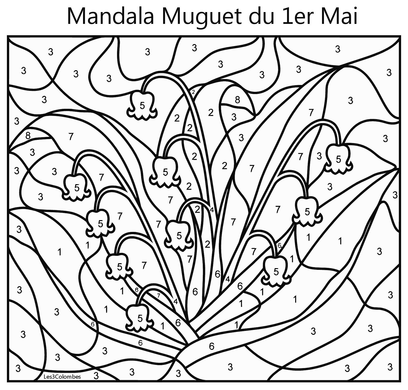 Mandala muguet 1er mai enfant coloriage en ligne gratuit - Coloriage muguet ...