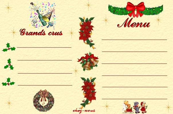 Les cartes de menu des f tes chez les 3 colombes for Table jour de l an