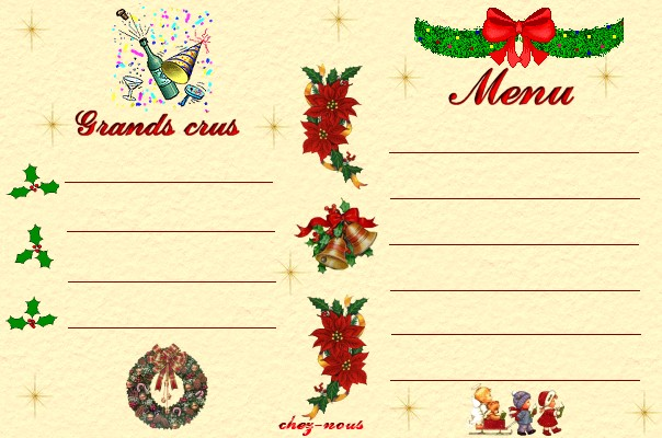 Carte Menu De Noel À Imprimer Gratuit