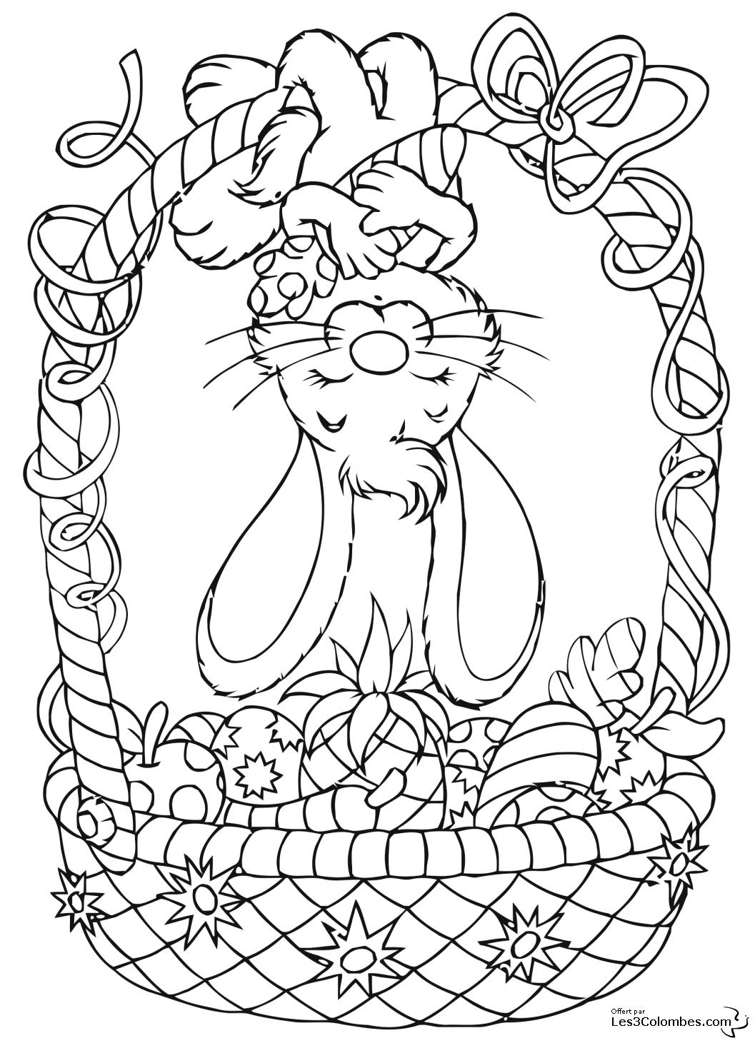 coloriage Lapin de Paques a imprimer 2 - Coloriage en ...